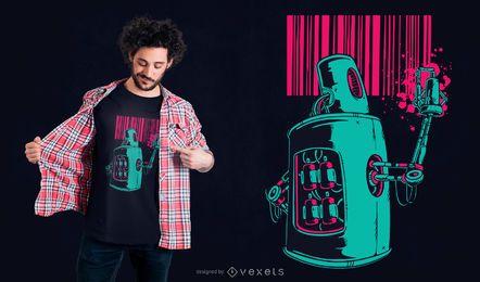 Diseño de camiseta robot graffiti.
