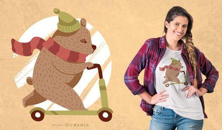 """Projeto do t-shirt do urso do """"trotinette"""""""