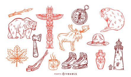Canada hand drawn elements set
