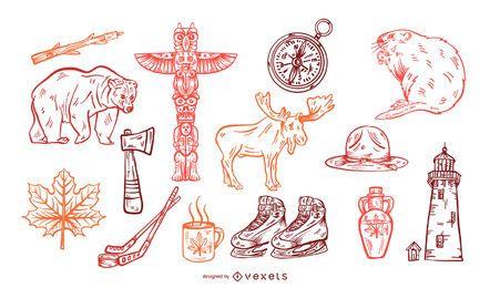 Conjunto de elementos desenhados mão do Canadá