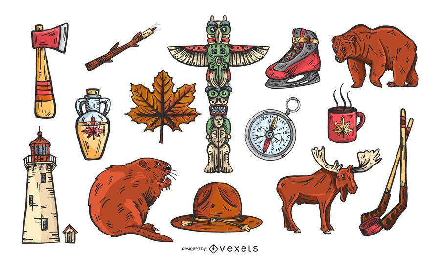 Canada elements vector set