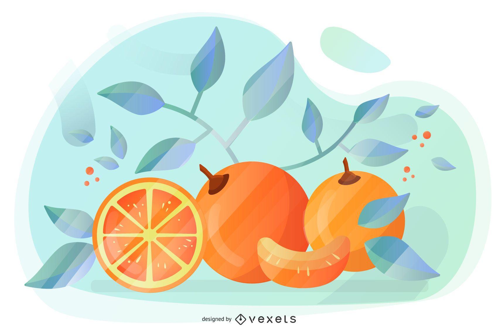 Diseño Artístico Vector Naranja
