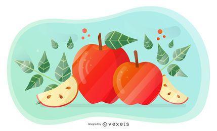 Design artístico de vetor de maçã