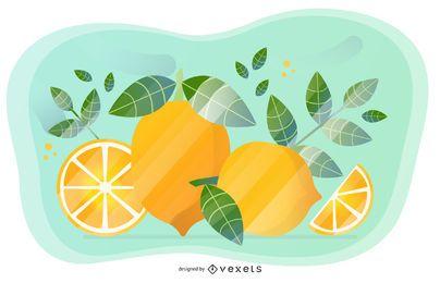 Diseño artístico de vector de limón