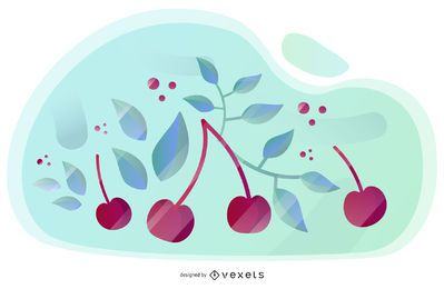 Design artístico de vetor de cereja