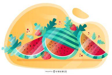 Projeto artístico de vetor de melancia