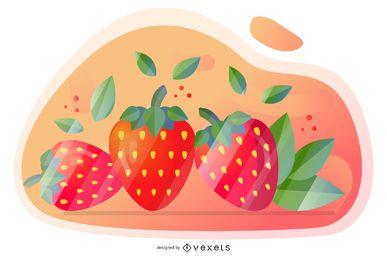 Desenho artístico de vetor de morango