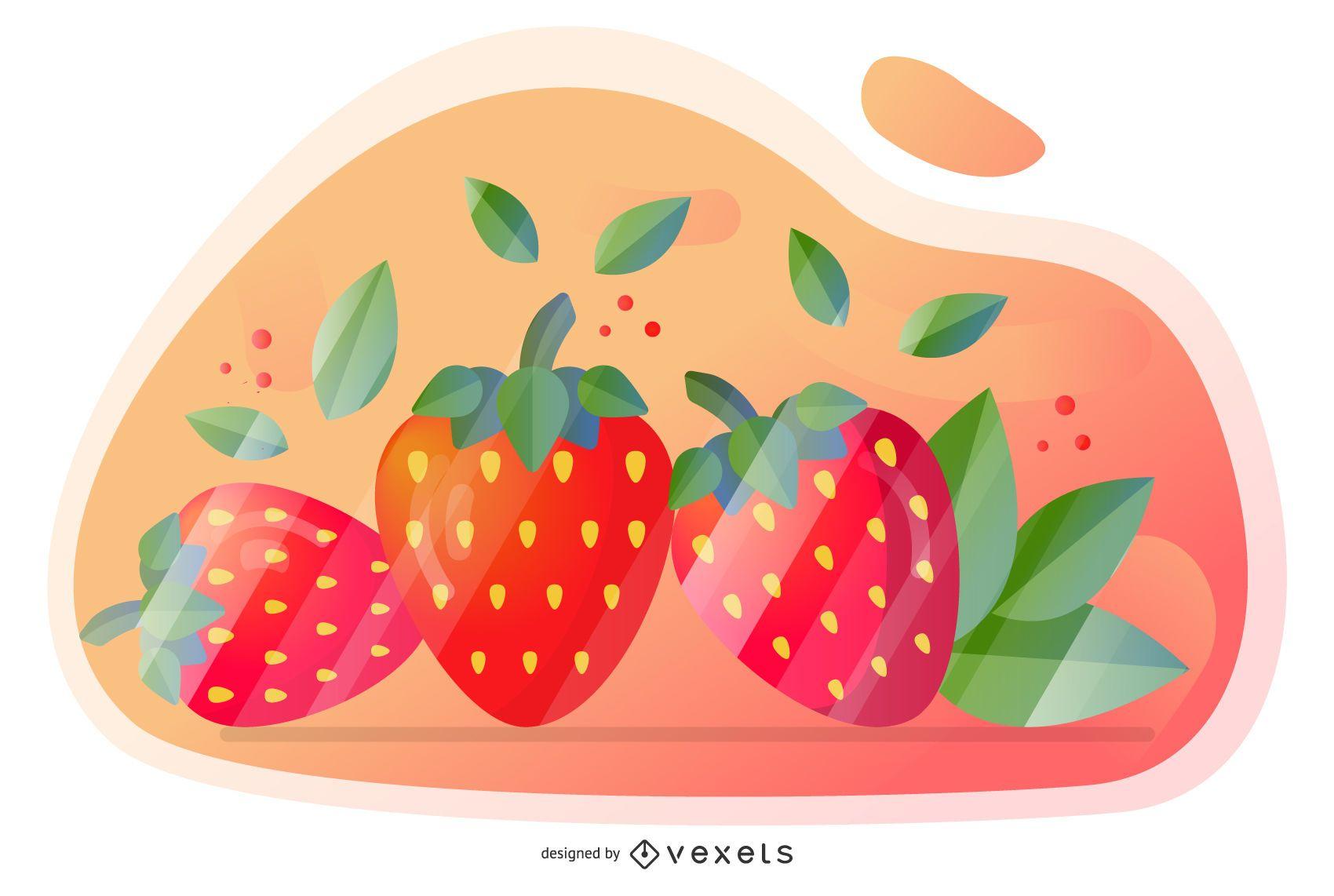Diseño artístico de vector de fresa