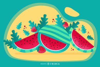 Wassermelonen-Kunst-Vektor-Design