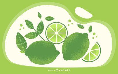 Ilustración artística verde lima