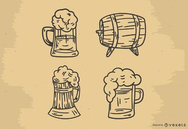 Beer hand drawn vector set