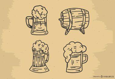 Gezeichneter Vektorsatz des Bieres Hand
