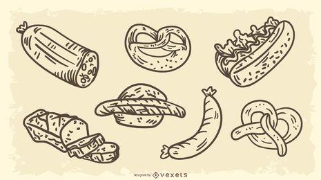 Conjunto de vetores de alimentos tradicionais da Alemanha