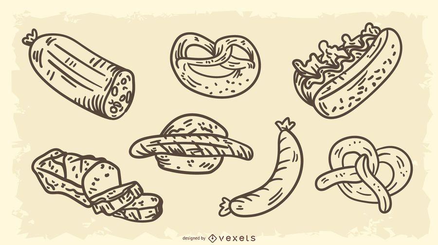 Conjunto de vectores de alimentos tradicionales de Alemania