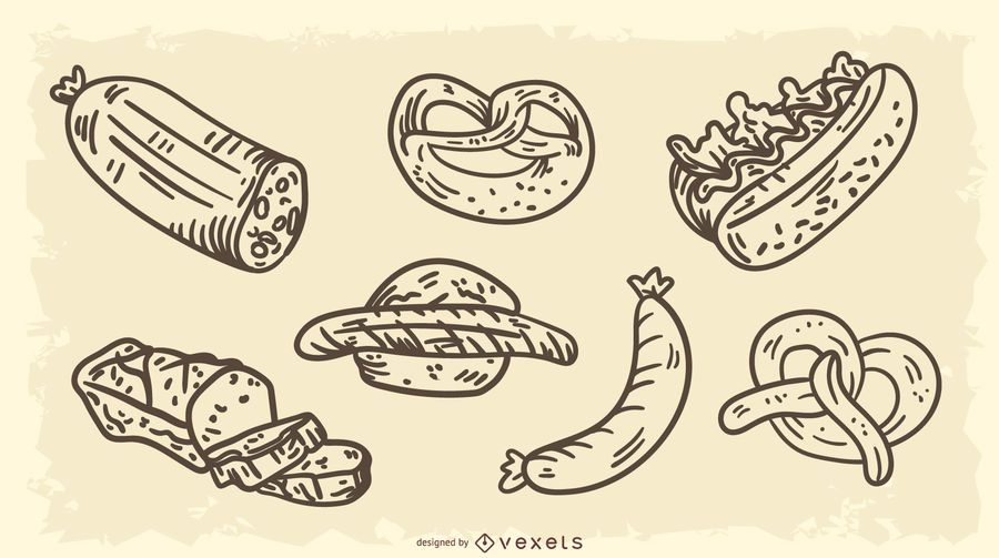 Germany Traditional Foods Vector Set