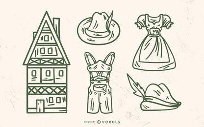 Conjunto de elementos tradicionales de Alemania