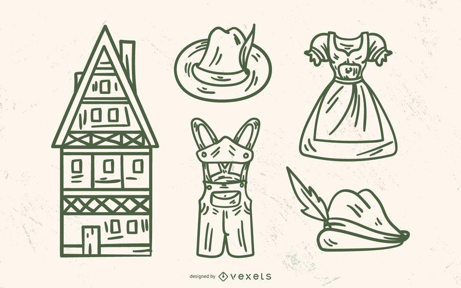 Conjunto de elementos tradicionais da Alemanha