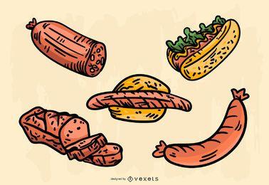 Conjunto de vectores de comida alemana