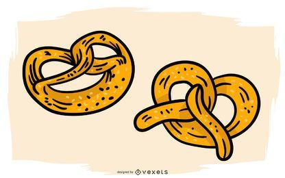 Projeto de ilustração de pretzels alemães