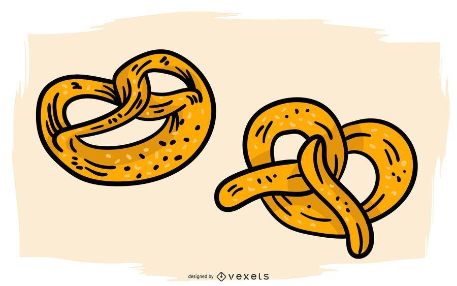 German pretzels illustration design
