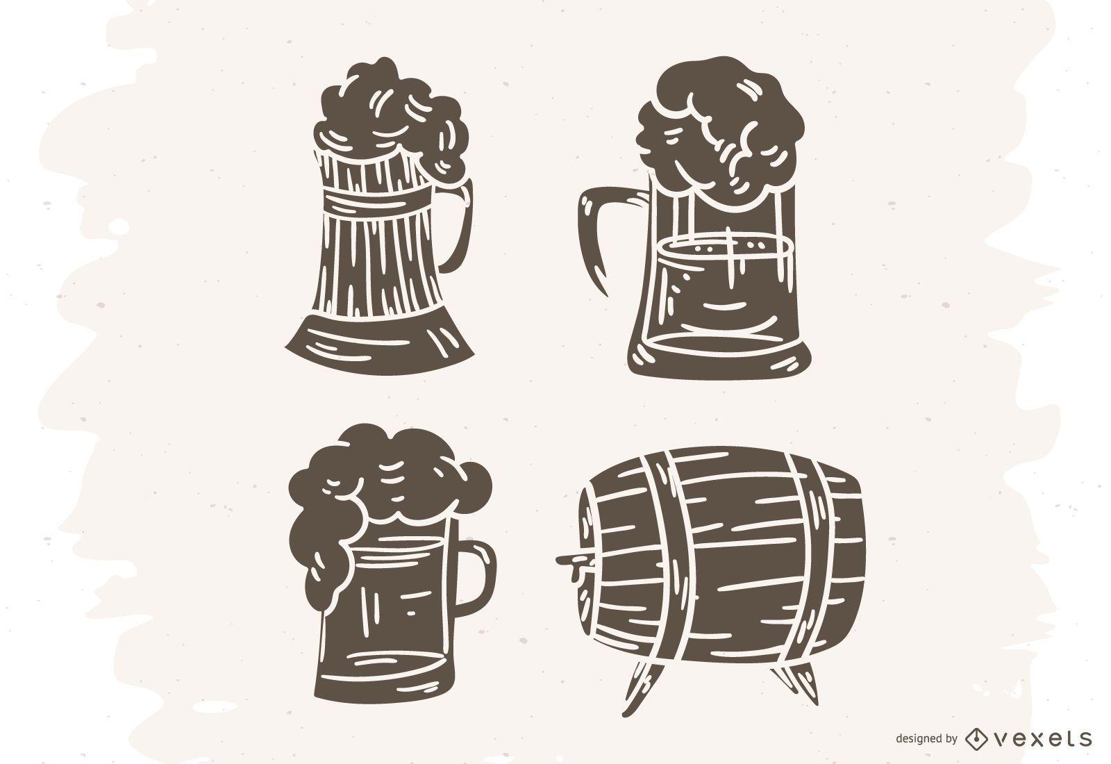 Germany beer silhouette set