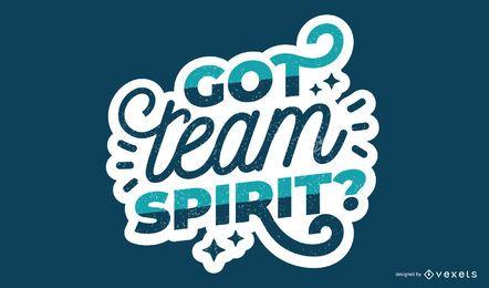 Team spirit lettering design