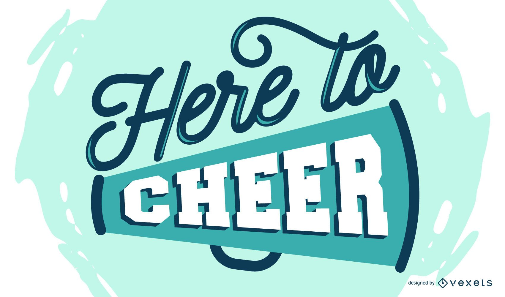 Here to cheer lettering design
