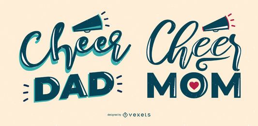 Cheer dad mom lettering set