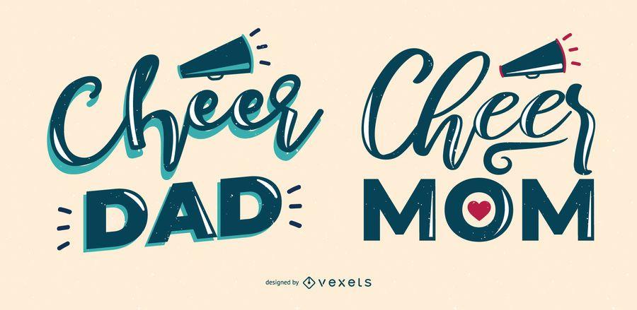 Cheer dad mom lettering set