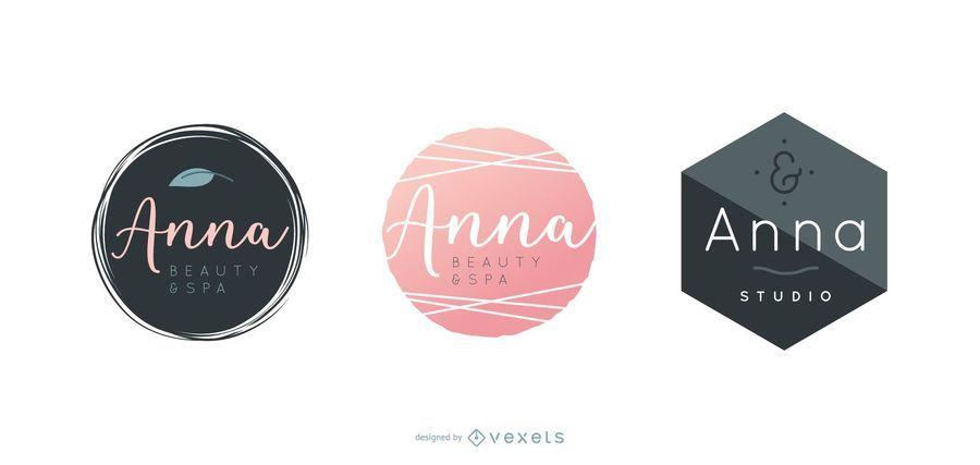 Conjunto de diseño de logotipo de spa