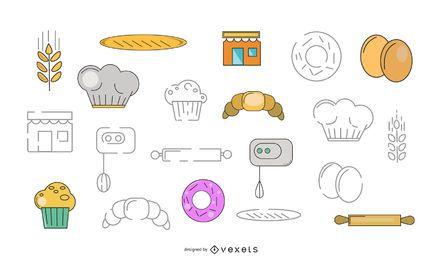 Pacote de vetores de elementos de padaria
