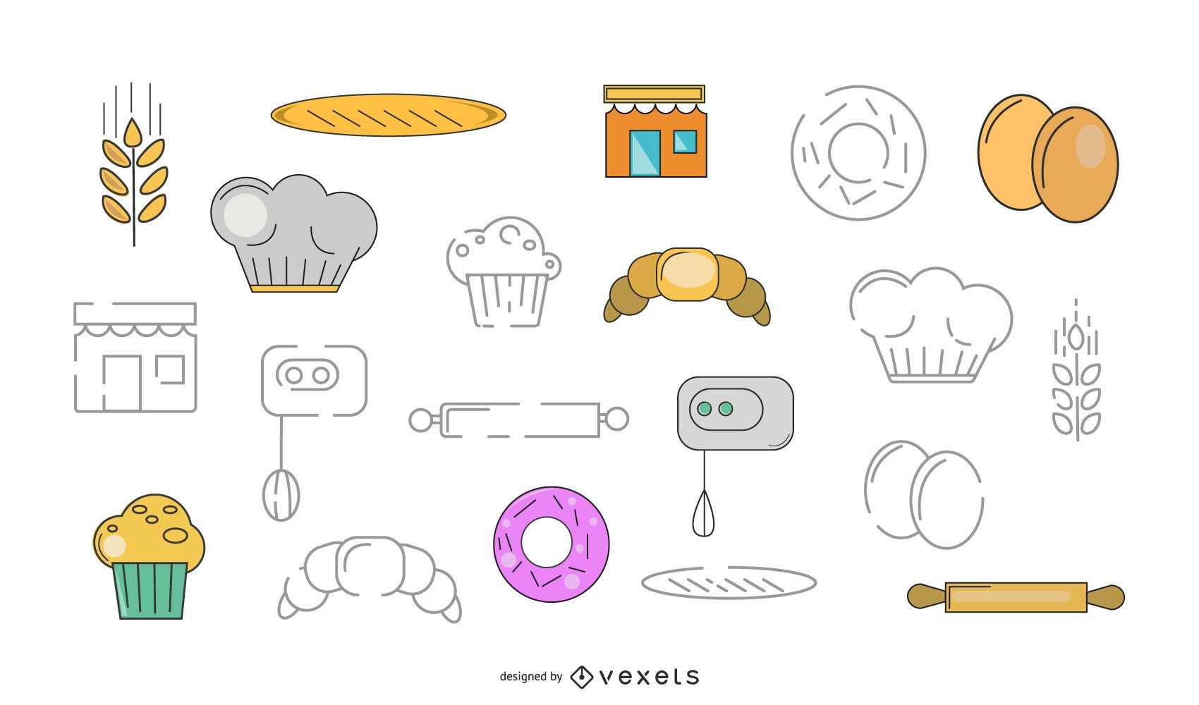 Paquete de vectores de elementos de panadería