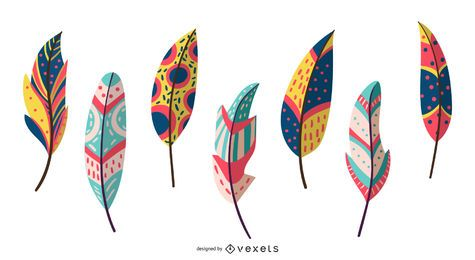 Boho plumas conjunto de vectores
