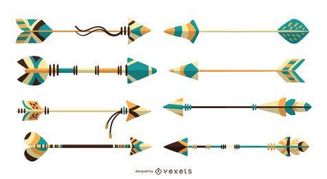 Ilustración detallada de la colección de flechas