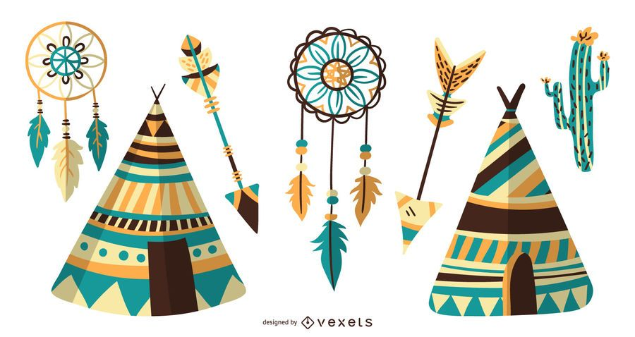 Colección de diseño de iconos de nativos americanos
