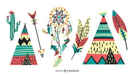 Ícones Nativos Americanos Vibrantes