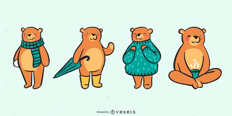 Adorável urso coleção