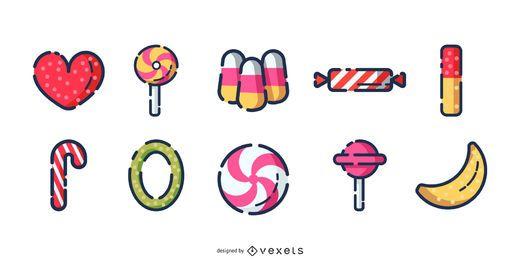 Conjunto de ícones de traço de doces