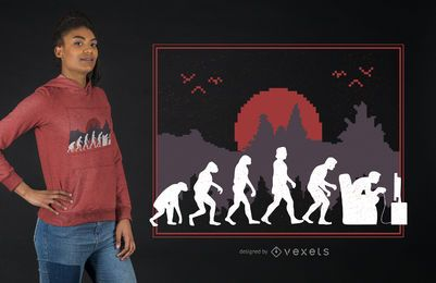 Diseño de camiseta Gaming Evolution Funny