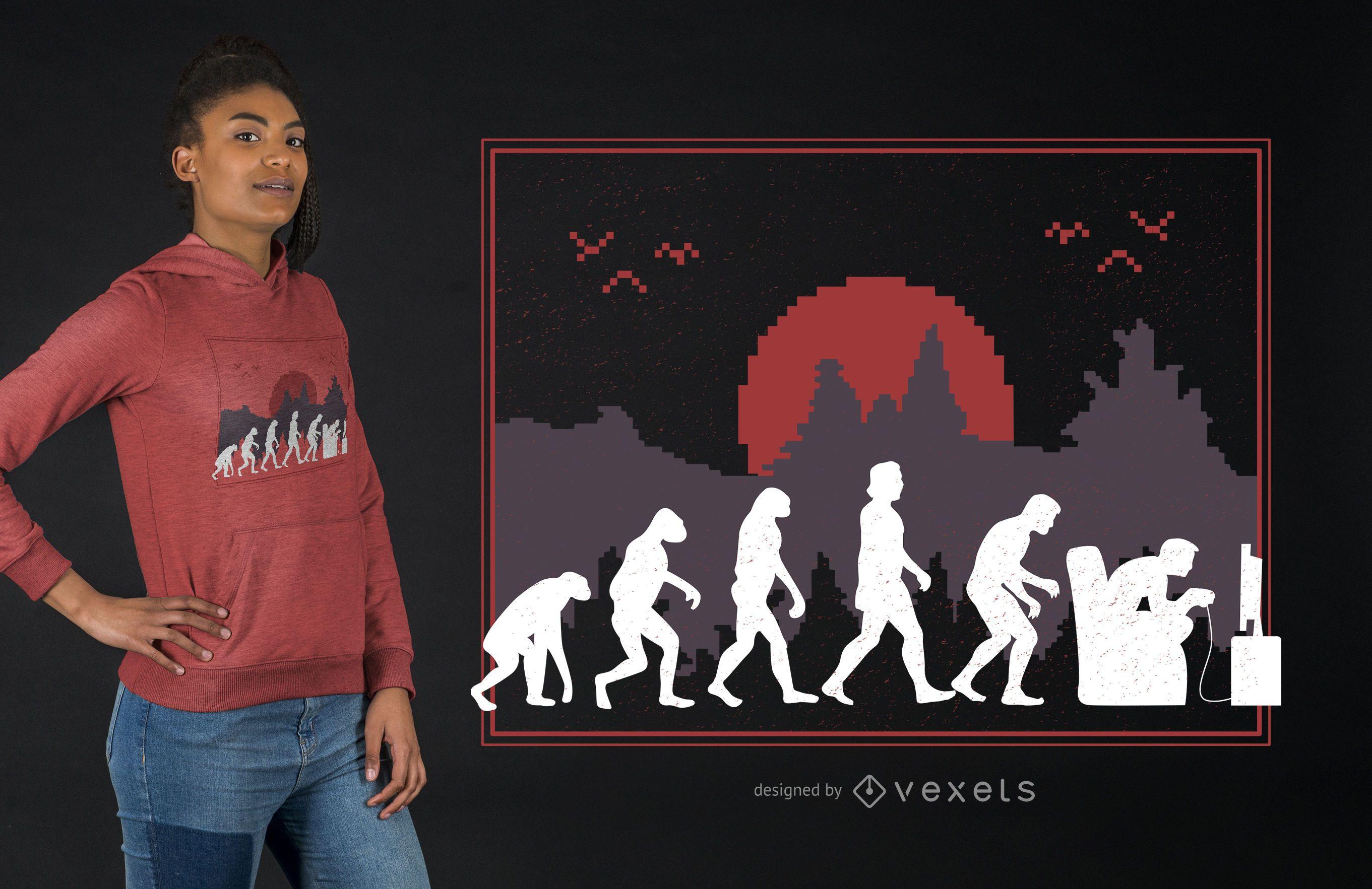 Diseño de camiseta Gaming Evolution Funny