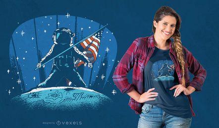 Design de camiseta de astronauta para pouso na lua
