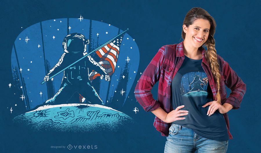 Design de t-shirt de pouso de astronauta na lua