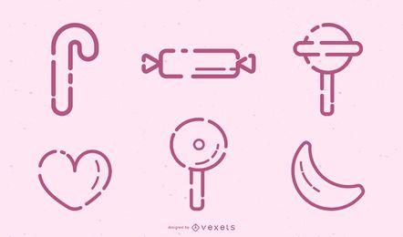Conjunto de iconos de trazo de caramelo