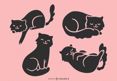 Conjunto de silhueta de gato fofo
