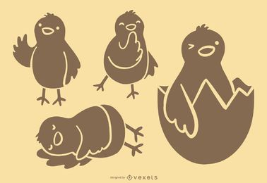 Cute Chick Silhouette Collection