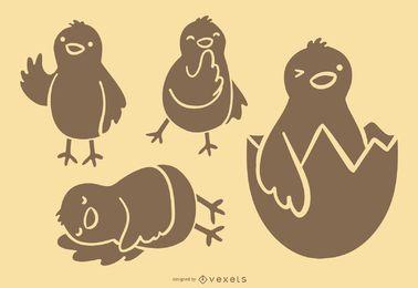 Silueta de dibujos animados de pollo