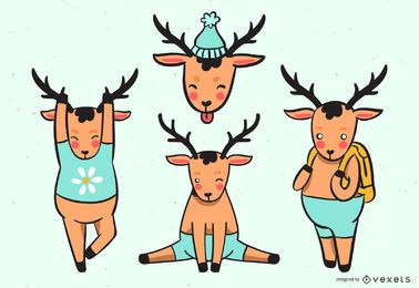 Conjunto de desenhos animados de cervos coloridos