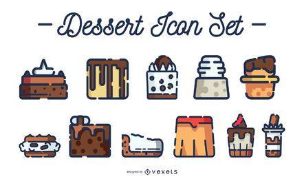Conjunto de ícones coloridos de sobremesa derrame