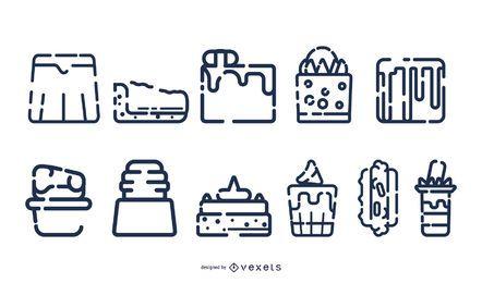 Coleção de ícone de sobremesa de acidente vascular cerebral