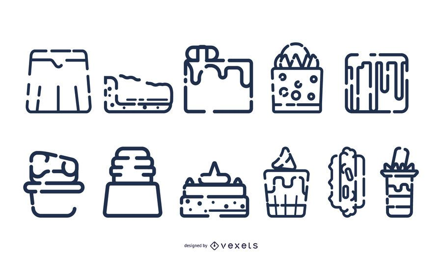 Colección de iconos de postre trazo